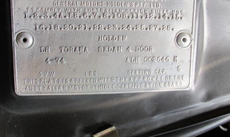 1974 L31 SLR/5000 Torana - ID Plate