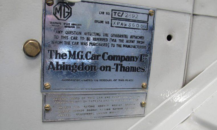 1947 MG TC - Plate