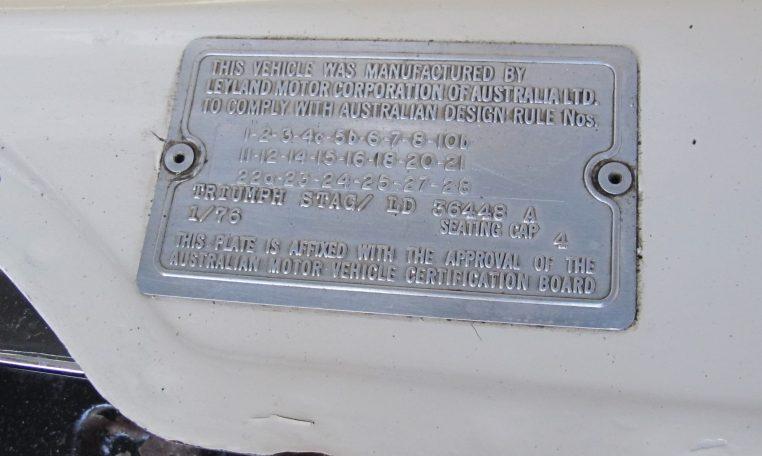 1975 Triumph Stag - ID Plate